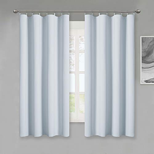 - KGORGE Thermal Insulated Blackout Liners - Easy Install Curtain Liners with Top Tab Grommets, Heat Blocking Privacy Window Curtain Drapes for L63 Bedroom Blinds, Greyish White (2 Pcs, 50