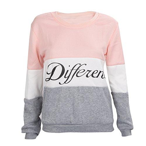 場合検査官モスSODIAL(R)女性のアルファベットプリント丸い襟長袖Tシャツ配色パーカー 秋冬 Lサイズ ピンク+グレー