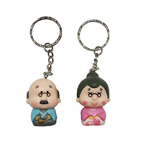 Valentine Unique 3D Elderly Couple Keychain - DreamsEden Anime Key Chain Rings, Romantic Wedding Anniversary Birthday Gifts Keepsake with Box and Card (Style 3: Blue/Pink) ()