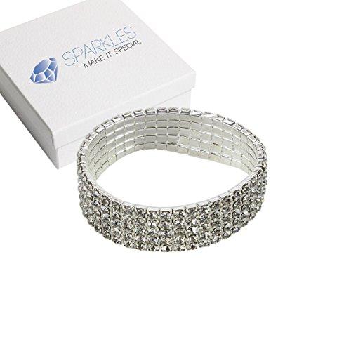 Row Crystal Rhinestone Bracelets - 1