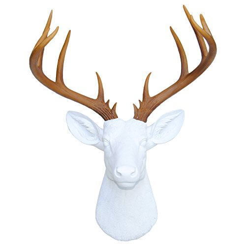 Near & Deer 14-Point Faux Deer Mount Hunting Trophy, Grand White Stag Resin Taxidermy Art, White Head Natural Brown Antlers Light Tips
