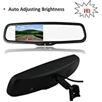 PYvideo Auto Adjusting Brightness Dual Video Inputs 4.3 Car Rear View Mirror for Backup Camera of Most Car Models