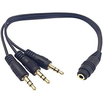 Cable divisor de audio y v/ídeo de 3,5 mm con 4 polos de 3,5 mm AUX macho a 2 auriculares hembra de 3,5 mm para micr/ófono y est/éreo y divisor de auriculares para smartphone tabletas zdyCGTime MP3