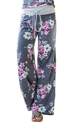 Angashion Women's High Waist Casual Floral Print Drawstring Wide Leg Pants Grey0902 US 12/Tag 3XL by Angashion