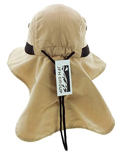 (JFH GROUP Mens Womens Unisex Packable Wide Brim Summer Hat w/Neck Flap (F006 Khaki))