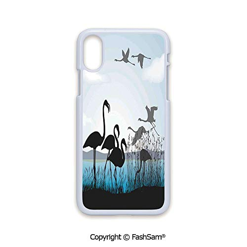 (Phone Case Compatible with iPhone X Black Edge Flamingo Silhouettes Walking Flying Waterfront and The River Reed Bed 2D Print Hard Plastic Phone Case)