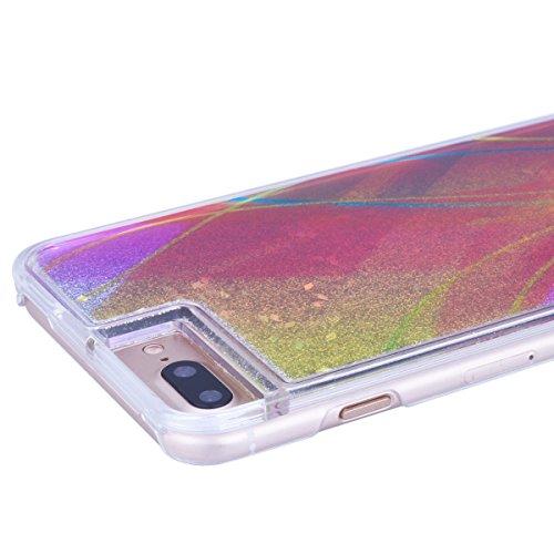 SMART LEGEND iPhone 7 Plus Liquid Hülle Flüssigkeit Glitter Transparent Schutzhülle mit Muster Fließen Flüssig Schwimmend Premium Shiny Glanz Sparkle Bling Tasche Skin Schale Hart Rückseite PC Backcov