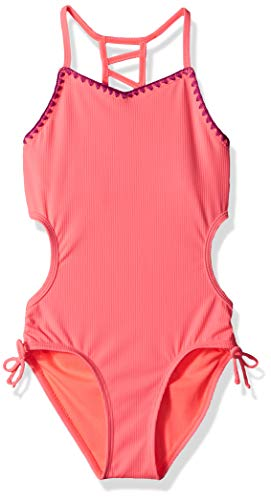 Angel Beach Big Girls' One Piece Swimsuit with Rib, Coral, 10 - Out Cut Coral