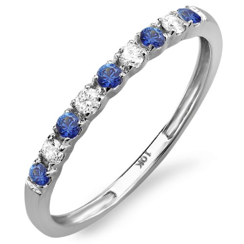 10K White Gold Round Blue Sapphire And White Diamond Anniversary Wedding Band Enhancer Guard (Size 8)
