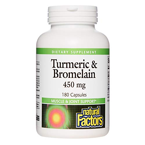 Natural Factors, Turmeric & Bromelain 450 mg, Supports Healthy Digestion, Liver, Muscle and Joint Function, 180 capsules (180 servings)