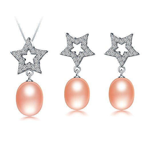 Genuine Aaa Pink Pearl - Freshwater Cultured Genuine Pearls Jewelry Set With Necklace & Earrings By DIAMOVI - 925 Sterling Silver -Star Design Embellished With AAA Grade Zircon Stones - Wedding Jewelry - (Pink)
