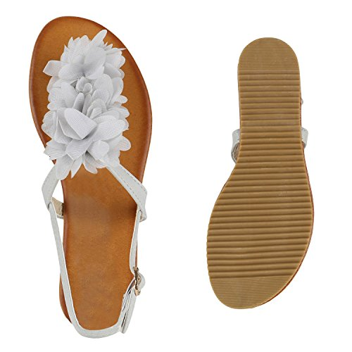 Stiefelparadies Damen Sandalen Zehentrenner Blumen Sommerschuhe Flats Damenschuhe Übergrößen Gr. 36-42 Flandell Hellgrau