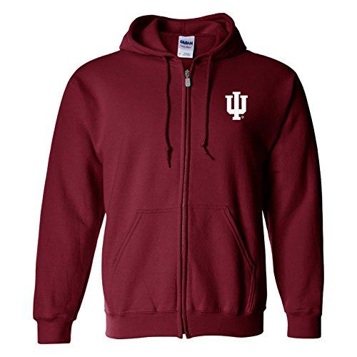 Logo Mens Hoodie Sweatshirt - AZ07 - Indiana Hoosiers Primary Logo Left Chest Full Zip Hoodie - X-Large - Cardinal