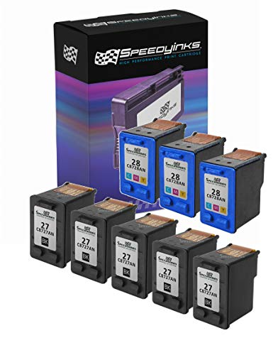 SpeedyInks Remanufactured Ink Cartridge Replacement for HP 27 and HP 28 (5 Black, 3 Color, 8-Pack)