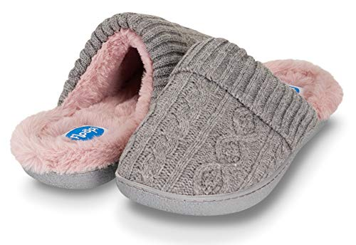 c6900ca5d3b Floopi Womens Indoor Outdoor Cozy Cable Knit Fur Lined Open Back Slipper W Memory  Foam