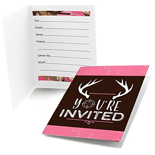 Big Dot of Happiness Pink Gone Hunting - Fill in Deer Hunting Girl Camo Baby Shower or Birthday Party Invitations (8 Count)]()