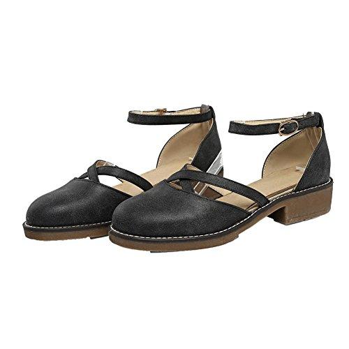 Allhqfashion Femmes Boucle Bas Talon Pu Solide À Bout Rond Pompes-chaussures Noir