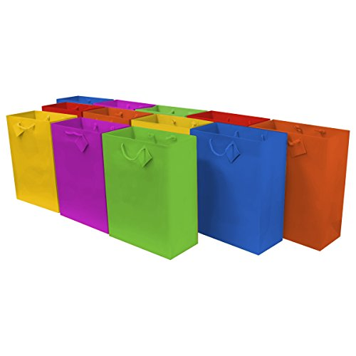 Large [10 x 5 x 13 x 5] Paper Gift Bags with Handles, Party Favor Bags for Birthday Parties, Weddings, Holidays and All Occasions (12 Gift Bags) Assorted Multi Color