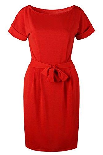 Herose Ladies Summer Feminine Bright Color Plain Waisted Formfitting Dress 2XL ()
