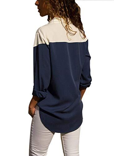 Moda Bavero Camicetta Primaverile Camicia Accogliente Lunghe Eleganti Lunghe di Ragazza Blusa Libero Tempo A Camicia Dunkelblau Donna Sciolto Chic Autunno Donne Maniche Maniche w80qgnOH
