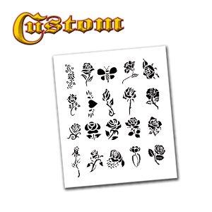 Airbrush Tattoo Stencil Set 54 Book of 20 Rose Templates