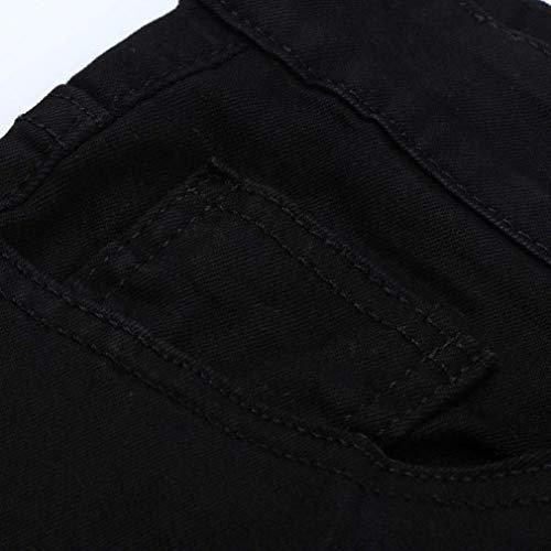 Fashion Skinny Moderna Aderenti Pants Casual Jeans Glich Motociclista Slim Color Da Pantaloni Uomo Stretch Nero Solid Fit P0dzFwTq