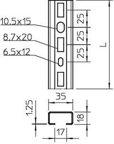 BVZ 1268 L 3 BETTERMANN Profilschiene 35x18x300mm ST