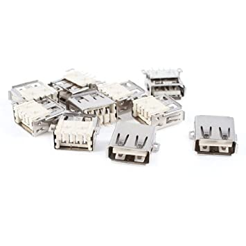 eDealMax 10 piezas blindado USB A hembra de 180 grados 4-Pin SMD SMT Jack