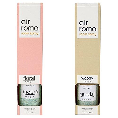 AIR-ROMA Combo of 2 Magic Mogra & Sweet Sandal Air Freshener Spray (400ml)