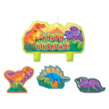 Amscan Charming Prehistoric Party Character Themed Candles, Yellow/Orange/Red/Purple, 2.25
