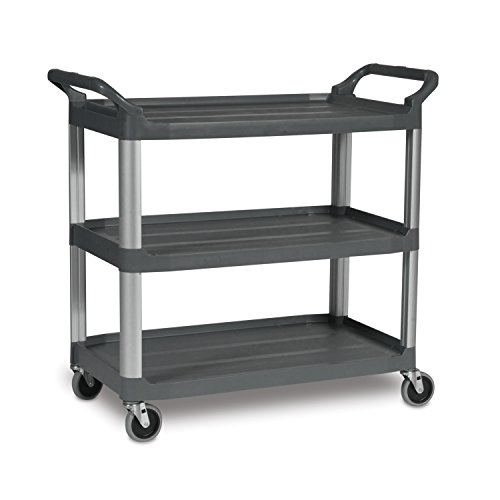 Rubbermaid Commercial FG409100GRAY XTRA Service and Utility Cart, 3-Shelf Open-Sided, Gray -
