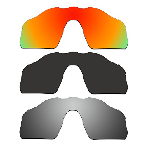 3 Pair ACOMPATIBLE Replacement Polarized Vented Lenses for Oakley Radar EV Pitch Sunglasses OO9211 Pack - Radar Sunglasses Pitch