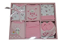 Big Oshi Baby Infants 6 Piece Layette Gift Set, Pink, 0-6 Months