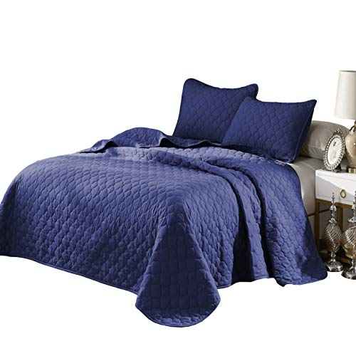 "OVERSIZE KING/CAL-KING BLUE SOLID COLOR QUILTED BEDSPREAD COVERLET (118""X106"") + 2 KING SHAMS (20""X36"") HYPOALLERGENIC OVERFILLED, 20"