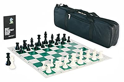 Contemporary Tournament Chess Set with Triple Weighted Game Pieces, Durable Chess Board, Strategy Guide, and a Convenient Game Bag