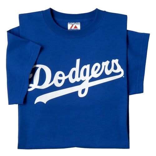 Los Angeles Dodgers (ADULT LARGE) 100% Cotton Crewneck MLB Officially Licensed Majestic Major League Baseball Replica T-Shirt (Los Angeles Dodgers Logo Jersey)