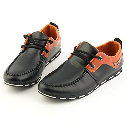 Men Autumn Winter Casual Flats Shoes Round Toe Comfortable Slip On Loafers Driving Shoes A02:Black ES2cFWY
