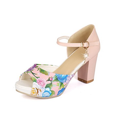 AgooLar Women's Assorted Color PU High-Heels Peep Toe Buckle Sandals Pink Bw1SXGq