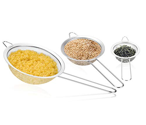 Fine Mesh Stainless Steel Strainer - Set of 3 - Professional Sieve - Best for Home Cooking Use - 5 Free Recipes eBooks - 100% Life Time Guarantee