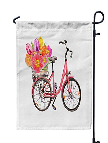 Shorping Welcome Garden Flag, 12x18Inch Bicycle with Tulip Flowers in Basket Watercolor Holland Travel Amsterdam for Holiday and Seasonal Double-Sided Printing Yards -