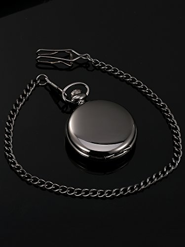 Mudder Classic Smooth Surface Mechanical Pocket Watch with Chain Xmas Birthday Wedding Father Day Gift (Black) by Mudder (Image #5)