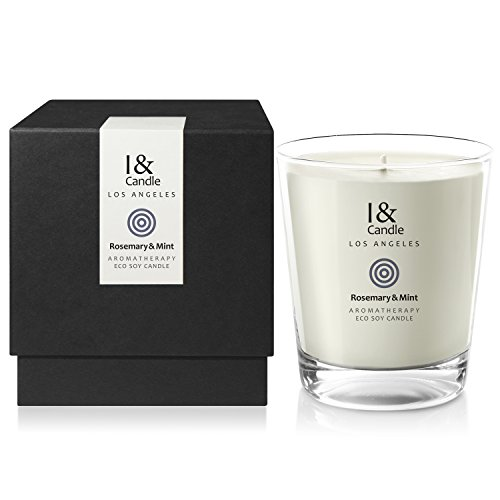 I & CANDLE, ROSEMARY & MINT AROMATHERAPY ECO SOY CANDLE. Made in the USA with Pure Essential Oils Blend and All Natural Ingredients. 10.5 oz.(297g) (Soy Mint Candle)