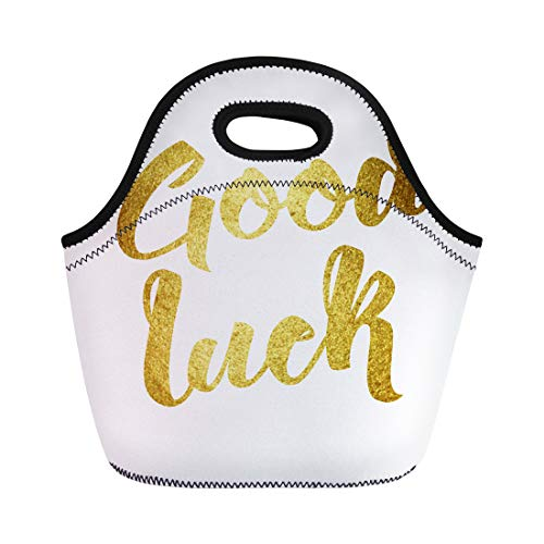 Semtomn Lunch Bags Farewell Good Luck Wish Note Hand Written Lettering Brush Neoprene Lunch Bag Lunchbox Tote Bag Portable Picnic Bag Cooler Bag (Best Wishes Phrases Farewell)