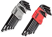 TEKTON Ball End Hex Key Wrench Set, 26-Piece (3/64-3/8 in, 1.27-10 mm)   25282