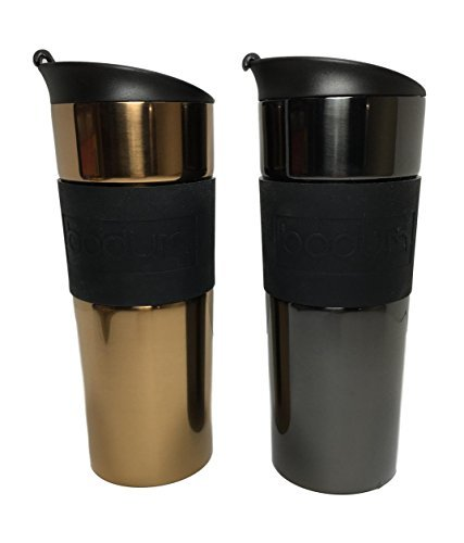 Bodum 15oz Travel Mug Set Double Walled Vacuum Sealed 18/10 Stainless Steel Copper & Gunmetal 2 Pack Bodum Stainless Steel Travel Mug
