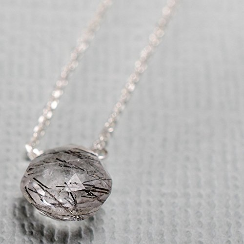 Dainty tourmalated quartz sterling silver necklace