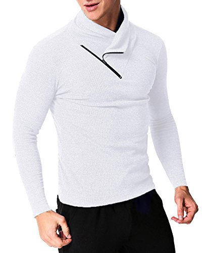 MODCHOK Men's Long Sleeve T Shirt Collar Tee Tops Pullovers Turtleneck Sweaters White M - Collar Mens Sweater