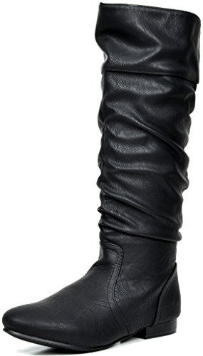 - DREAM PAIRS Women's BLVD Black Pu Knee High Pull On Fall Weather Boots Size 7 M US