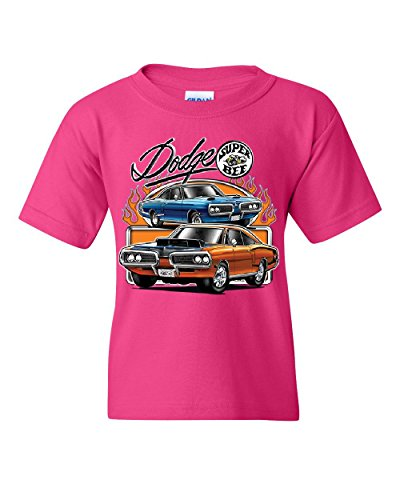 Dodge Super Bee Youth T-Shirt American Classic Muscle Car Kids Tee Pink M (Charger Coupe)