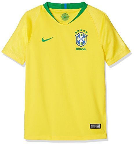 Nike Junior 2018-2019 Brazil Home Football Soccer Jersey (Yellow) Large